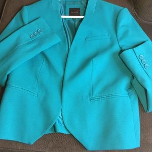 Short Aqua The Limited Open Front Blazer